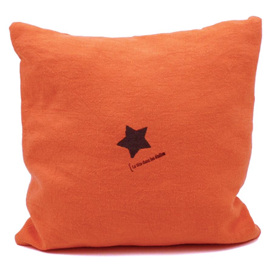 housse de coussin star lin orange tu lili oscar. Black Bedroom Furniture Sets. Home Design Ideas